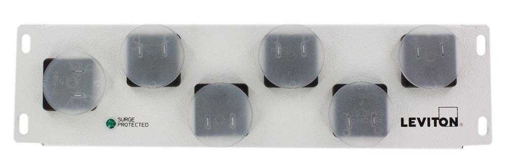 Leviton 48212-6S AC Power Surge Module with 6 NEMA Receptacles for Input: 120Vac, 50/60Hz Max Current 15Amp UL Vpr: L-N/L-G/N-G: 600Vp