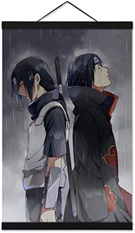 Jackethings Naruto Poster Wall Scroll Uchiha Itachi Painting Picture 40x60cm16 Inch Magnet Wood Poster Hanger