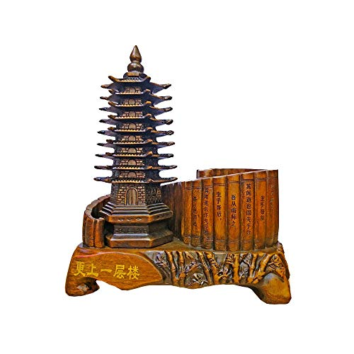 Wuliwu Chinese Style Pen Holder Decoration, Tower Shape, high-Grade Home Decoration, Resin Material, Ebony Color Crafts, Desktop Decoration, Meaning Auspicious, 8.3inch4.7inch10inch