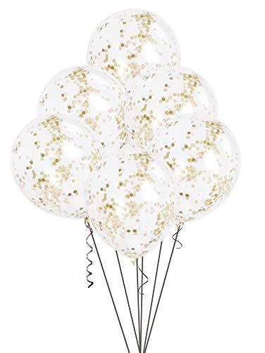 12 Gold Confetti Balloons, 6ct