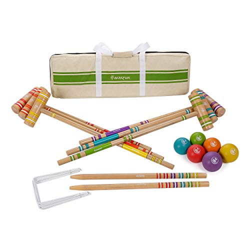 Harvil 6-Player Croquet Set for All Ages with Mallets, Balls, Stake Posts, Wickets, and Carrying Case - Light Wood