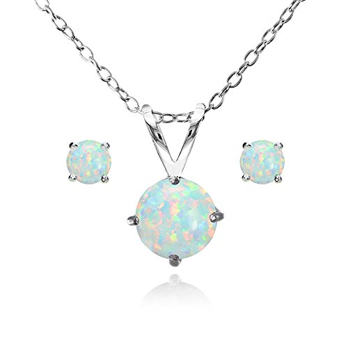 GemStar USA Sterling Silver Simulated White Opal Round Solitaire Necklace and Stud Earrings Set (Opal Necklace Earring)
