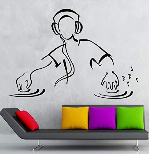 YSQLLA Pegatinas de Pared DJ Música Fiesta Club Nocturno Pista de Vinilo Calcomanía Extraíble Decoración del Hogar Sala de Estar Arte Creativo Wallpaper55X85Cm