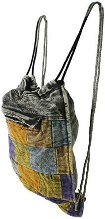 CAL FUSTER - Mochila Saco de Bolsa de Cuerdas Hippie étnico Tela algodón. Medidas: 41x35 cm. Aprox.: Amazon.es: Equipaje