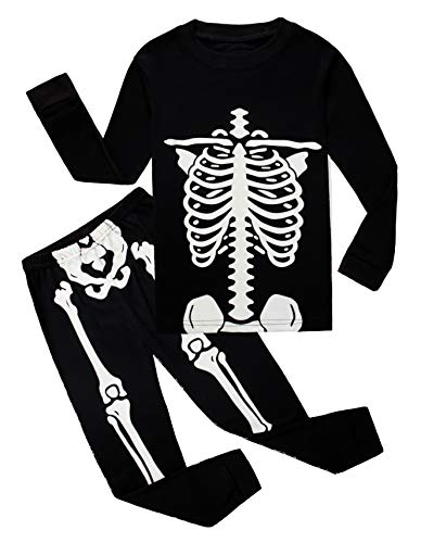 Boys Skeleton Pyjamas (Skeleton Halloween Pajamas Big Boys Girls Sleepwear Glow in The Dark Long Sleeve Kids Pjs Size)