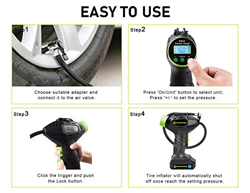 HAWKFORCE Tire Inflator Air Compressor Cordless Portable Car Tire Pump with Rechargeable Battery, Easy to Read Digital Pressure Gauge, Built-in LED Light,Tool Bag