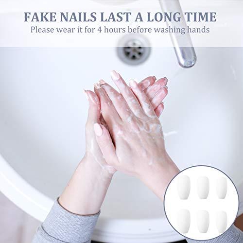 48PCS Press on Nails Long Lasting French Nail Kit Ultra Comfort for Women