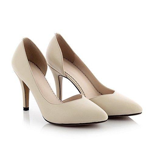 Amoonyfashion Dames Gemengd Materiaal Stevige Pull-on Dichte Spitse Neus Hoge Hakken Pumps-schoenen Nude