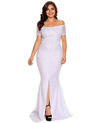 6b5a1d41340 FUSENFENG Women s Plus Size Evening Gowns Lace Off Shoulder Wedding Party  Long Maxi Dress