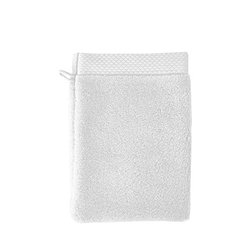 Garnier-Thiebaut Set of 2, Luxuriously Soft Cotton European Shower/Wash Mitts (Gants De Toilette), Blanc (Pure White), Elea Collection
