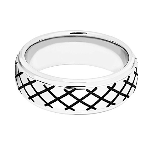 Men's Cobalt, Black Cross Hatch Design 8mm Comfort-Fit Band, Size 9.5 by The Men's Jewelry Store (Image #3)