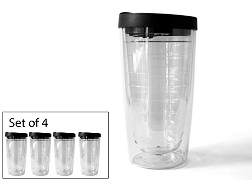 - Set of 4 Clear 16oz Tumblers - Clear with Black Lid - BPA Free