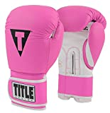Title Boxing Pro Style Leather Training Gloves 3.0, Hot Pink/White, 14 oz