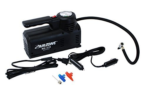 "Portable Air Compressor Pump 110V AC 12V DC - Extra long 21"" Filling Hose - Premium Car Truck Bicycle Tire Inflator - Inflates Balls Blow-Up Mattresses Camping Equipment - Adaptors Included"