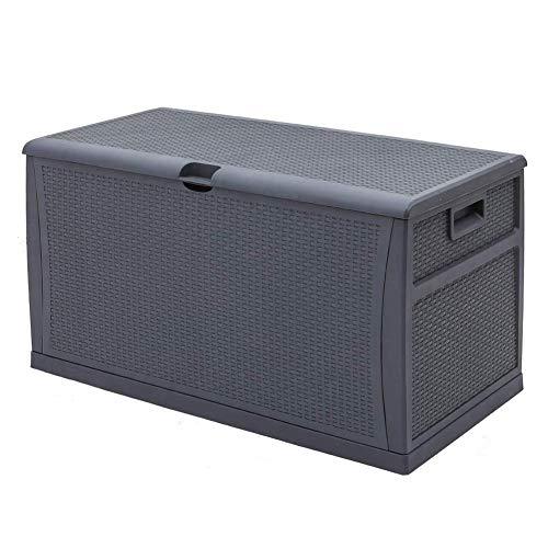 120 Gallon Resin Wicker Patio Storage Box, Waterproof Outdoor Storage Container Deck Box and Gar,Grey