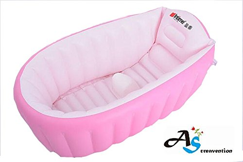 (A&S Creavention® Inflatable Baby bathtub (Pink) )