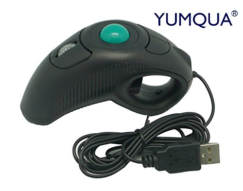 Trackball Mouse,YUMQUA Y-10 Handheld USB Wired Finger Mice Fits Left and Right Handed Carpal Tunnel Users for PS/Windows/XP/NT/ME