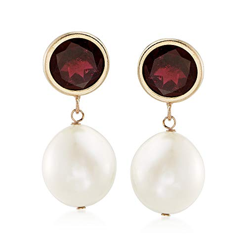 - Ross-Simons 9.5-10mm Cultured Pearl and 4.00 ct. t.w. Garnet Drop Earrings in 14kt Yellow Gold