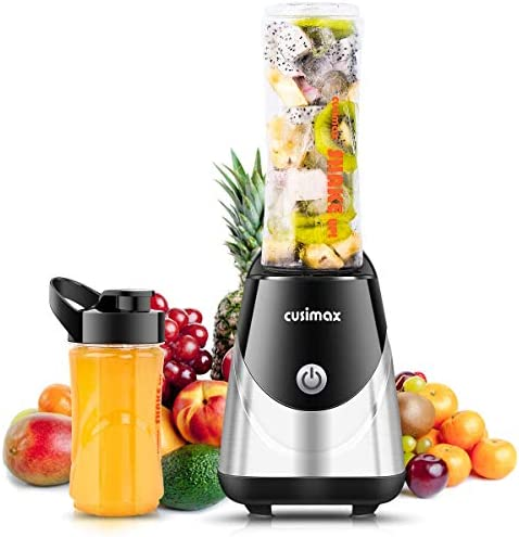 Cusimax Smoothie Blender Personal Blender for Shakes Small Travel Blender with 2 Sport Bottles Juicer Cup Single Serve Portable Blender Non-Slip Rubber Feet 250W Stronger and Faster FDA BPA-free