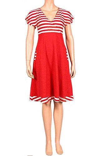 nanso playa vestido Ladies Dress kirje Corto Vestido 100cm casa vestido Talla XS S M rojo-blanco