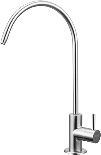 Primy 100 Lead-Free Drinking Water Filter Faucet with Single Handle for Water Filtration Systems Reverse Osmosis Systems – Spot Resist SUS304 Stainless Steel – Brushed Nickel Steel Finish