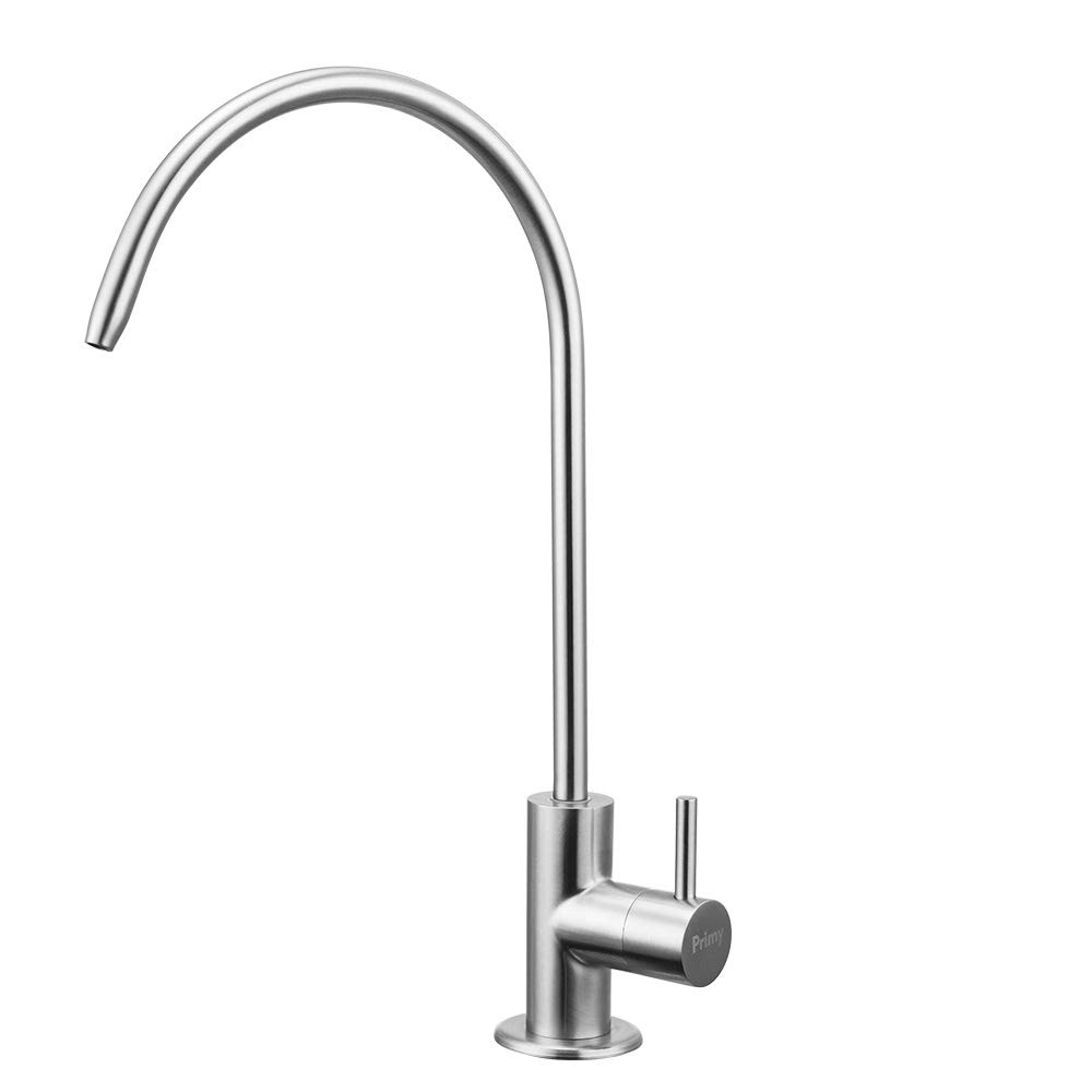 Primy 100% Lead-Free Drinking Water Filter Faucet with Single Handle for Water Filtration Systems & Reverse Osmosis Systems - Spot Resist SUS304 Stainless Steel - Brushed Nickel Steel Finish