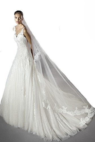 Gogh Ivory FINAL SALE SAMPLE Strapless Tulle Ball Gown with Beaded Appliques Size US8 by Gogh