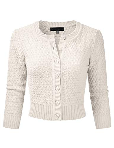 EIMIN Women's Crewneck Button Down 3/4 Sleeve Knit Crop Cardigan Sweater Ivory -
