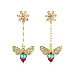 Y/W/Gold Bee Drop Earrings With Swarovski Crystal