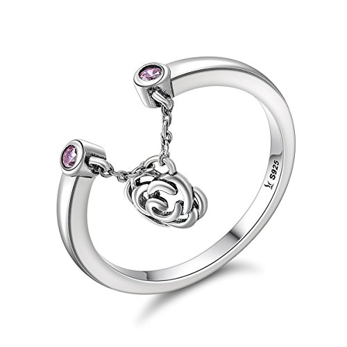 Everbling Flower Rose Story Dangle 925 Sterling Silver Adjustable Ring, Pink CZ