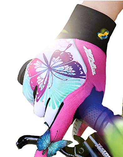 DuShow Women Full Finger Cycling Gloves Touchscreen Bike Gloves Long Gel Padded for Climbing Hiking Camping Motorcycle(Pink,L)