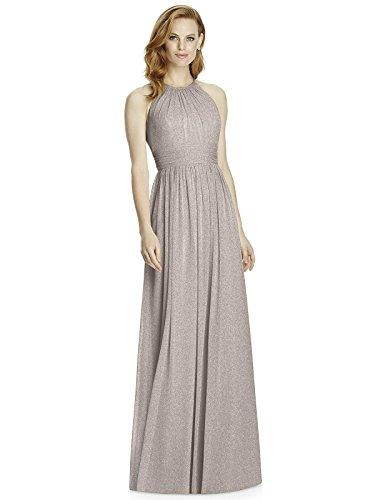 (Studio Design Collection 4511 Full Length Halter Neckline Bridesmaid Dress - Taupe Silver - Size 4)