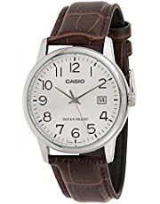 Casio Men's Dial Leather Band Watch - MTP-V002L-7B2UDF, Analog