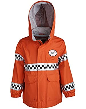 Baby Boys Lightweight Water Resistant Hooded Racer Rain Jacket