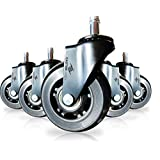 "Office Chair Caster Wheels Replacement - Set of 5 Black 3"" Hardwood Floor Chair Wheels - No Chair Mat Needed - Roller Blade Style Heavy Duty Desk Chair Casters with Soft Rubber Wheel"