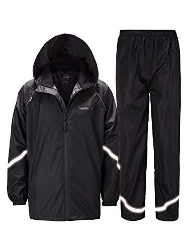 GEEK LIGHTING Mens Waterproof Rain Suit with Reflective Strip, Hooded Rainwear (Jacket & Trouser Suit)