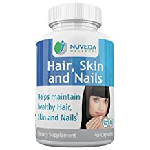 NUVEDA Wellness Hair, Skin & Nails Dietary Supplement 90 Veggie Capsules | With Biotin, Keratin, L-Lysine, Vitamin C, Zinc & More | Enjoy Healthy Nails, Nourish Skin, Strengthen Hair & Boost Collagen Formation