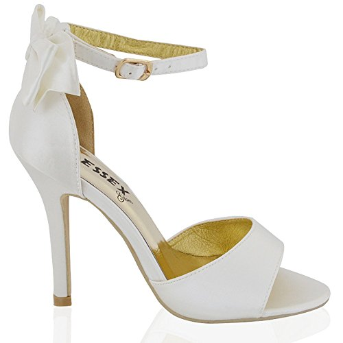 Satin Ankle Strap Wedge (ESSEX GLAM Womens Stiletto Ankle Strap Ivory Satin Bridal Sandals Shoes 6 B(M) US)