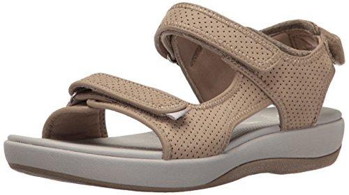 Clarks Women's Brizo Sammie Flat Sandal, Sand Perforated ...