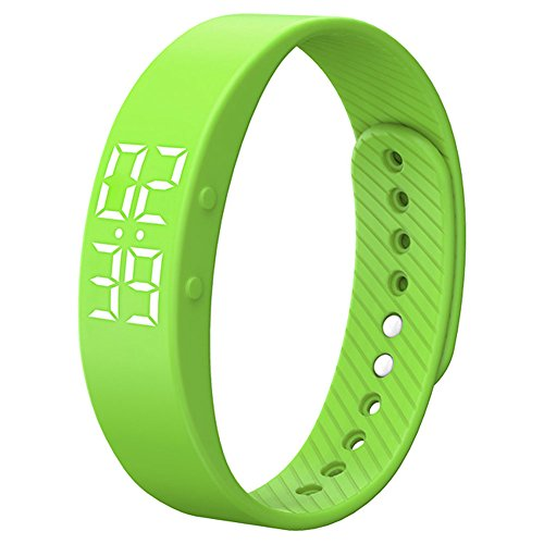 Smart Wristband Non-Bluetooth Pedometer Bracelet Fitness Tracker Smart Watch with Timer Vibration Alarm Step Calories Counter Distance Time / Date for Walk for Kids[Upgrade Version] (Green)