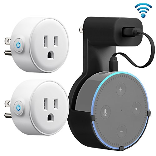 Price comparison product image GMYLE WiFi Smart Plug Mini (2 Packs), with Outlet Wall Mount Hanger Stand Holder Bracket for Amazon Echo Dot 2nd, Remote Control Your Household Equipment from Everywhere, Compatible with Amazon Alexa