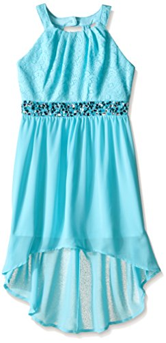 Dress Halter Bodice (My Michelle Big Girls' Halterneck Dress with Lace Bodice Hi Low Hem and Beaded Waistband, Light Turquoise/Light Turquoise, 7)