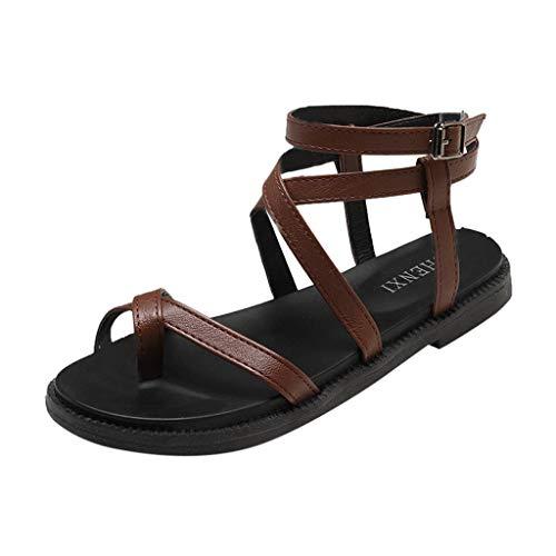(HAPPYSTORE Women Summer Sandals Bohemia Pumps Slippers Beach Cross Straps Roman Platform Shoes Brown)