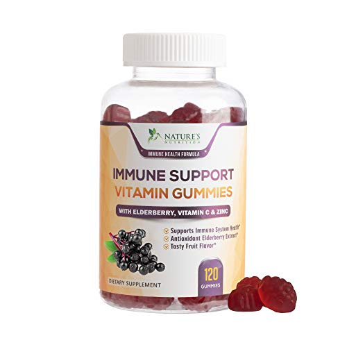 Immune Support Gummies for Adults with Black Elderberry Extract, C & Zinc, Natural Pectin Based Gummy Vitamin, Immune System Support Supplement for Children & Adults, Tasty Fruit Flavor - 120 Gummies