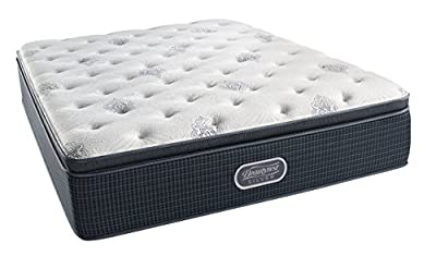 Simmons Beautyrest Silver Plush Pillow Top Mattress, AirCool Gel Memory Foam, Pocketed Coil Technology, Queen