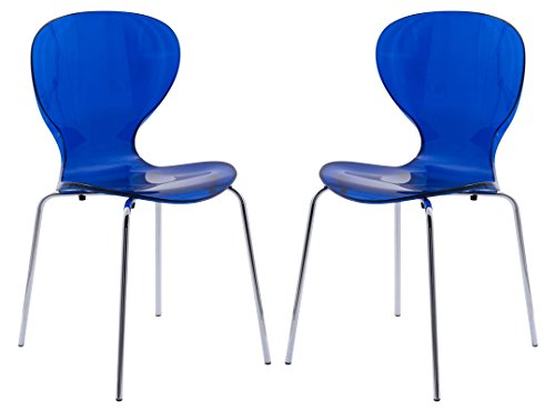 LeisureMod Carson Mid-Century Dining Side Chair, Set of 2 (Transparent Blue) (Lucite Chairs Blue)