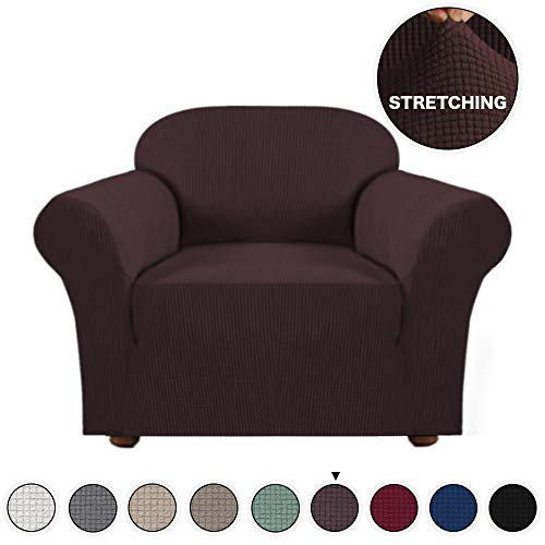 Turquoize Armchair Slipcover 1-Piece Jacquard High Stretch Amrchair Arm Chair Slipcover Machine Washable Stylish Furniture Protector Cover for Sofa and Couch (Chair-Brown)