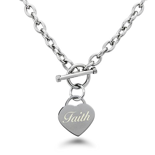 Tiffany Co Toggle Necklace - Stainless Steel Engraved Faith Heart Tag Charm Necklace