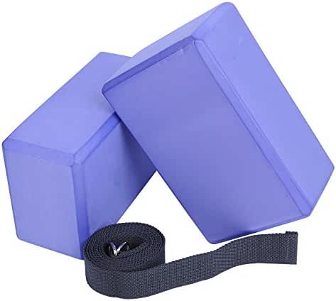 Veda Yoga Foam Blocks (Set of 2) plus strap with Metal D-Ring - Standard Studio Size 9
