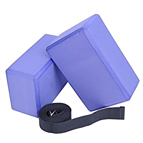Veda Yoga Foam Blocks (Set of 2) plus strap with Metal D-Ring - Standard Studio Size 9